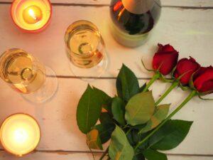 バラとワインとキャンドル